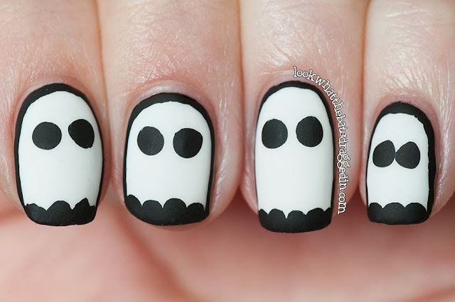 ghosts halloween nails spooky manicure sally hansen white on Illamasqua Boosh Essie Matte About You