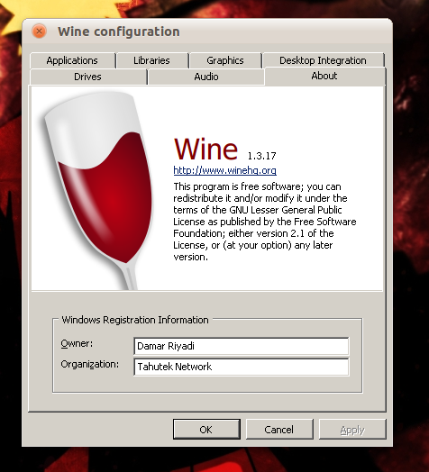 Wine 1.3.17 di Ubuntu 10.10 Maverick Meerkat