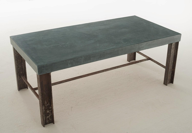 mesa azul microcemento