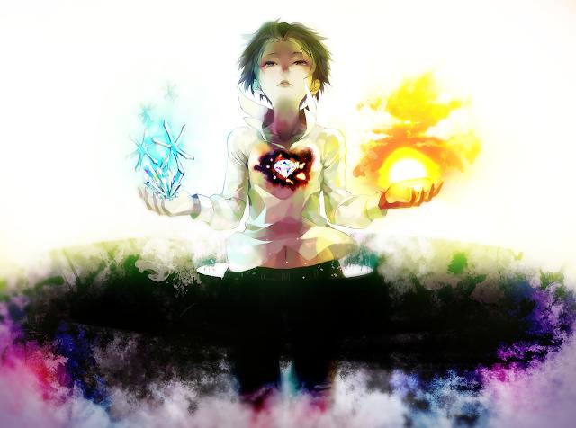 Fire Orb Snowflake Diamond Girl Female Anime HD Wallpaper Desktop PC Background 2104