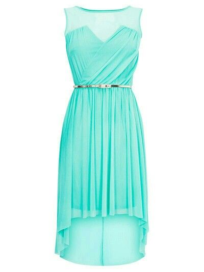 Light Turquoise Sleeveless High Low Dress