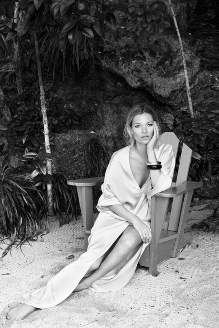 Kate Moss on the beach, resortwear, bombshell