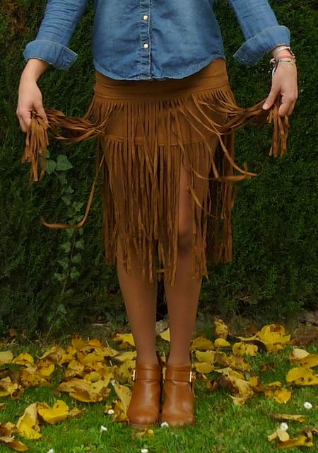 falda flecos corta