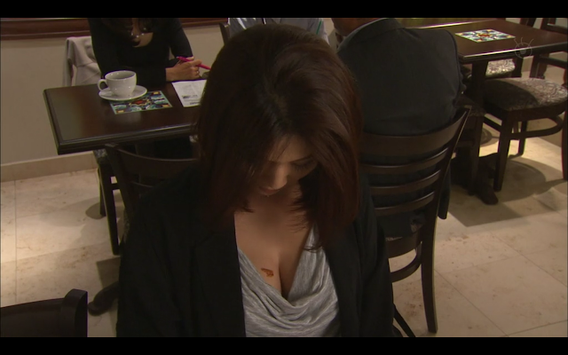 Last Cinderella - Shima's cleavage on show again at the cafe