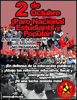 2 de Octubre ¡No se olvida! Paro Nacional Estudiantil y Popular