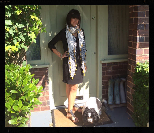 My Midlife Fashion, Pom pom edged zara scarf, mango studded sandals, Wallis tunic dress