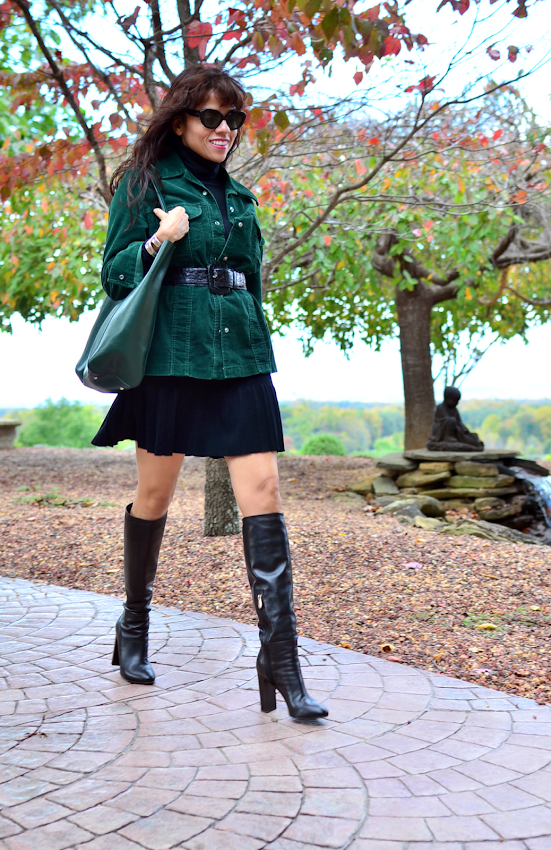 Outfit with forest green and black