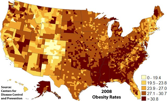 U.S. obesity by county, 2008