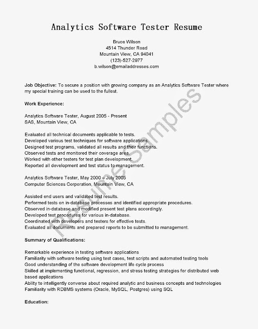 resume examples software tester