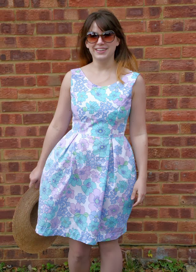 The Elisalex dress: take one in vintage fabric, front view