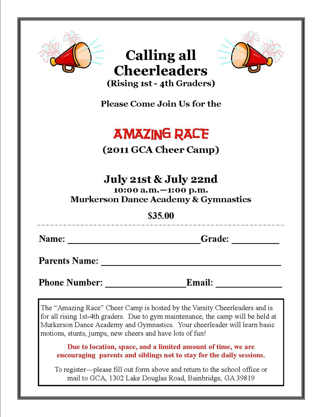 cheerleading superlatives  Grace Christian Academy: GCA Cheer Camp - July 21st