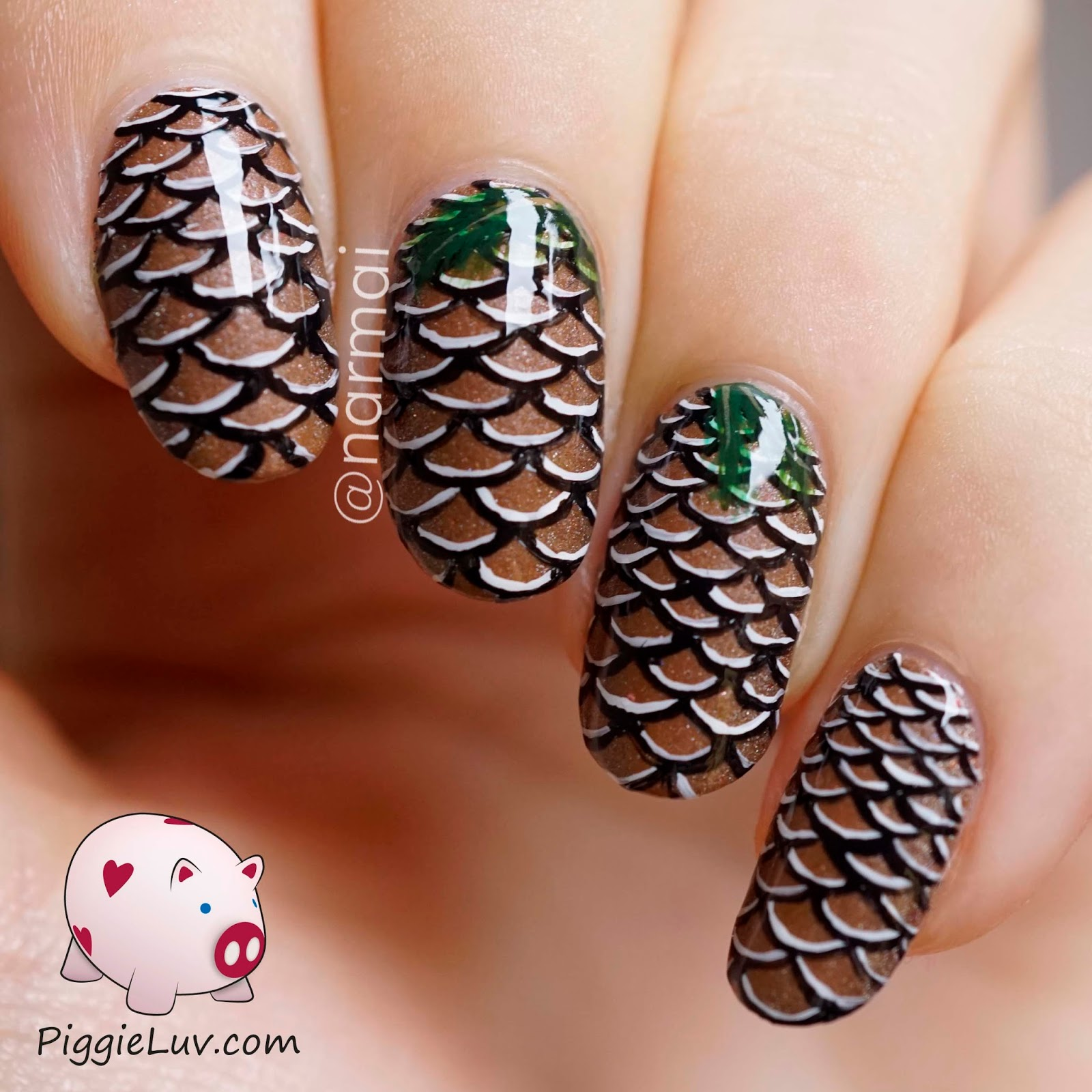PiggieLuv: Pine cone nail art + video tutorial