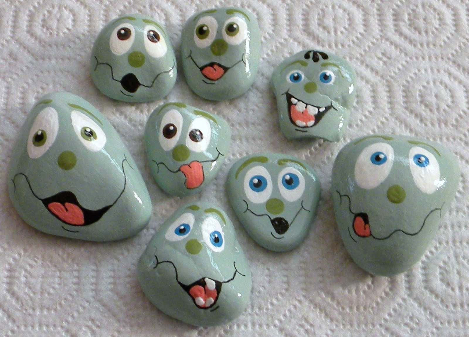 Funny Faces Painted On Rocks