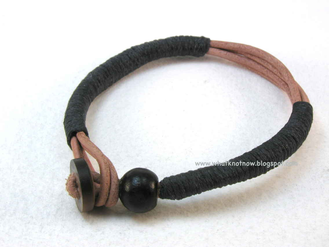 Leather Wrapped Cord : Knots and fiber bracelets wrapped leather cord button bracelet
