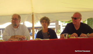John Crea, Laura Taxel and Chef Steve Schimoler judge the Beef at the Garlic Festival