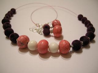biżuteria z półfabrykatów - różowe oponki (komplet)