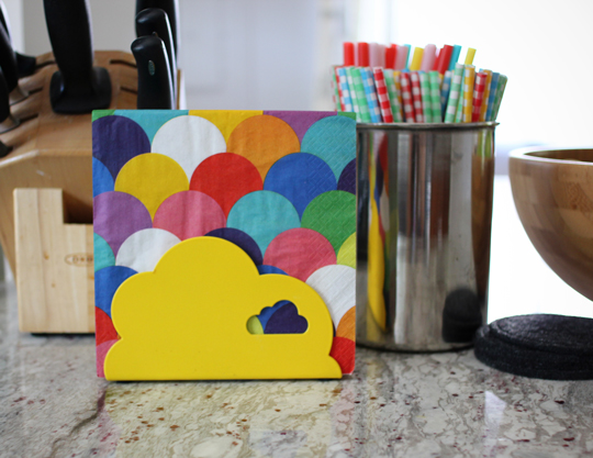IKEA yellow cloud napkin holder