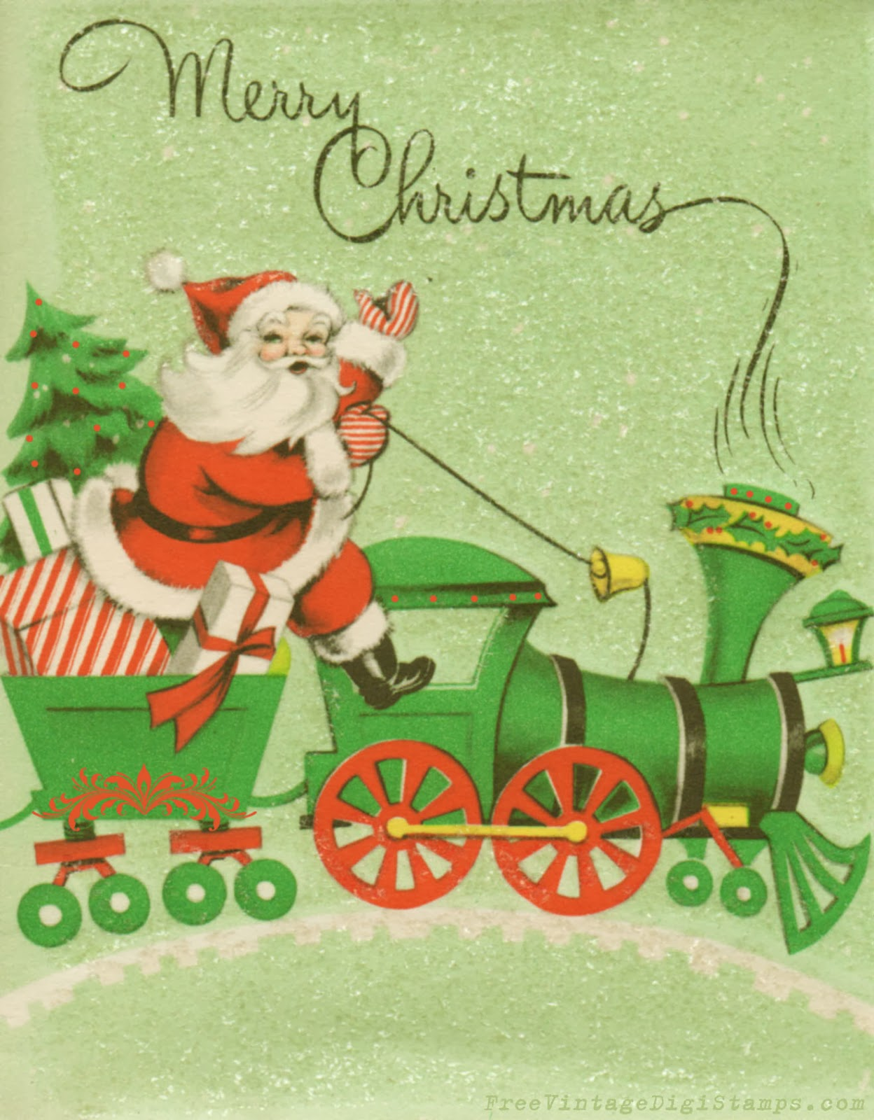 free vintage digital stamps vintage printable santa riding a train. Black Bedroom Furniture Sets. Home Design Ideas