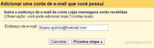 Adicionando uma conta de e-mail para poder receber mensagens dela