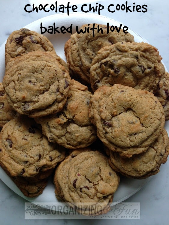 Yummy Chocolate Chip Cookies baked with love :: OrganizingMadeFun.com