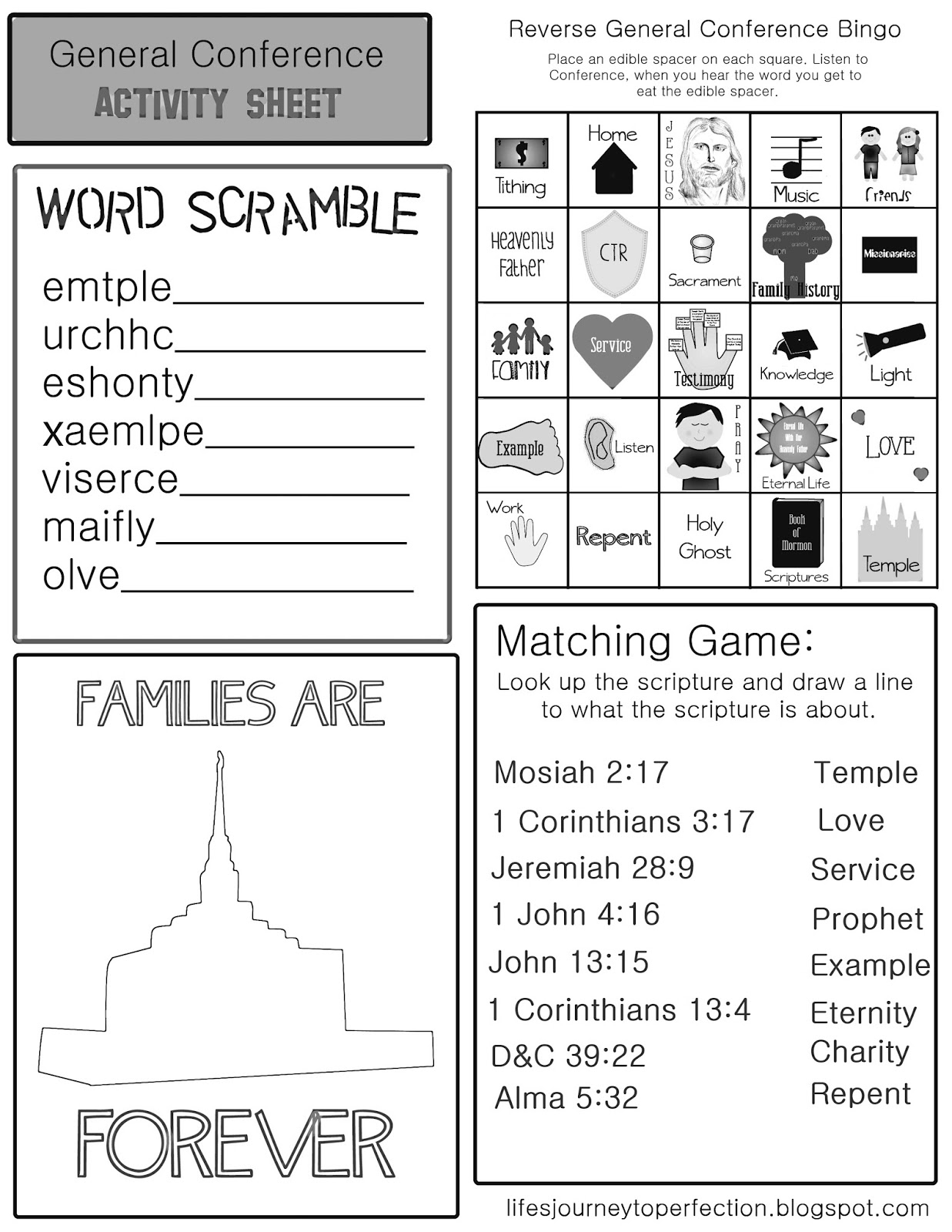 general conference activity sheet black and white version