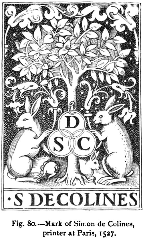Mark of Simon de Colines, printer at Paris, 1525
