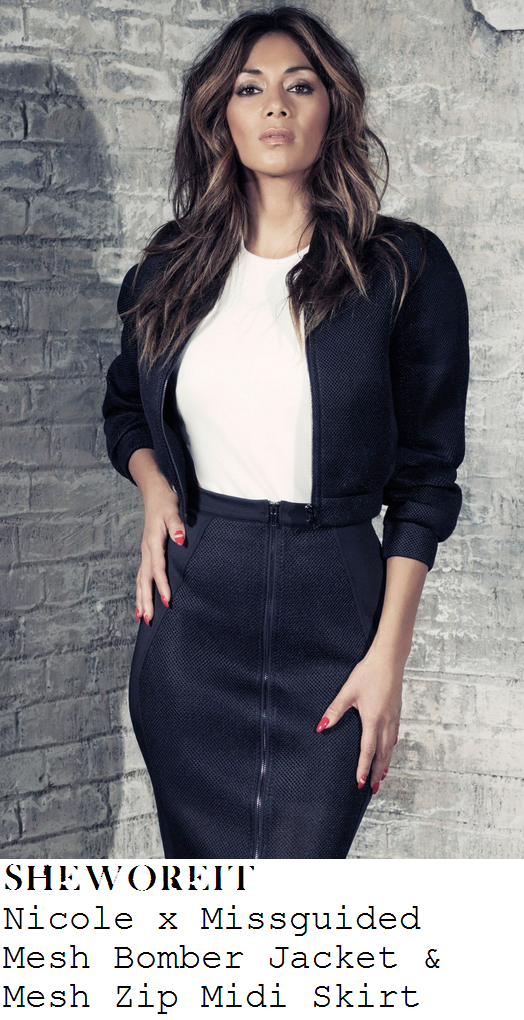 sam-faiers-black-mesh-cropped-bomber-jacket-pencil-midi-skirt-co-ords-anne-summers-launch