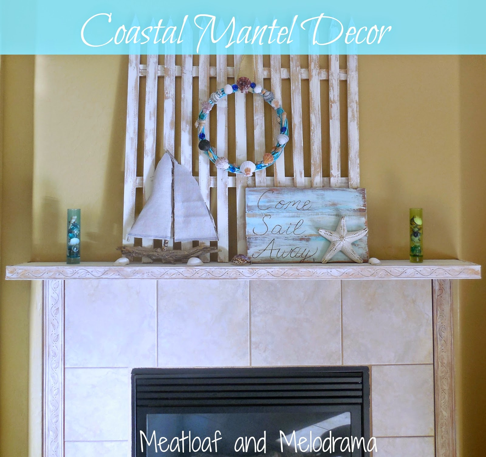 seashells, seashell wreath, wood sailboat, nautical sign on white mantel
