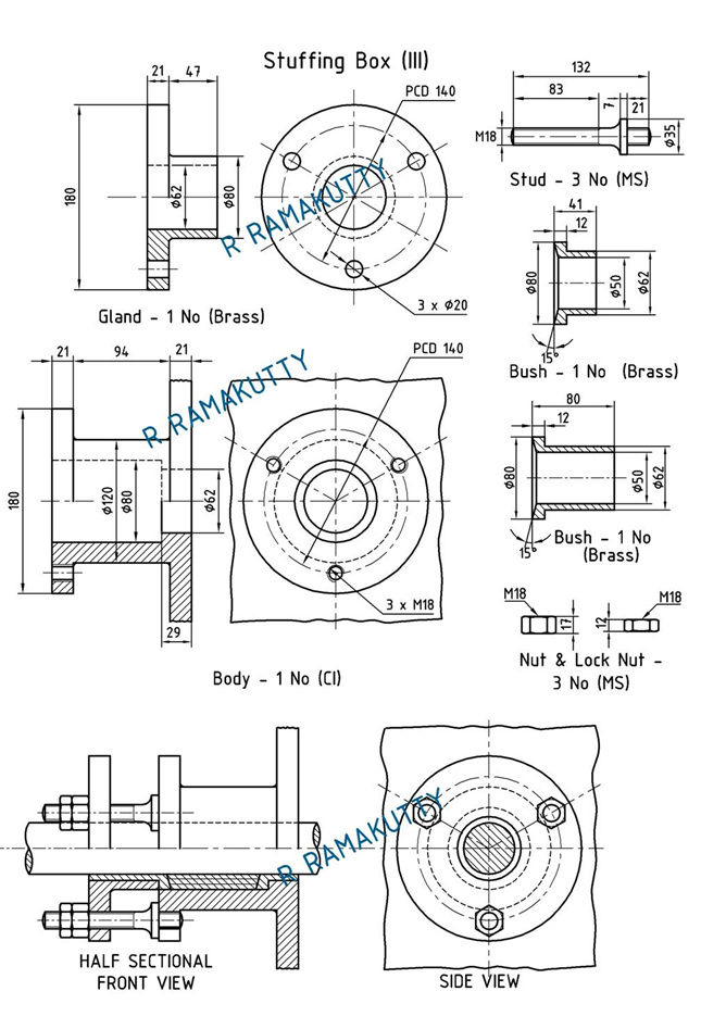 machine drawing  stuffing box
