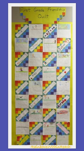 photo of: First Grade Friendship Quilt: Drawing and Writing combined