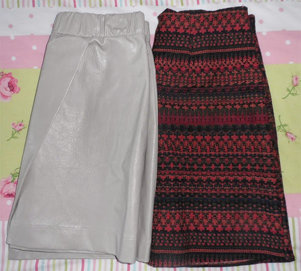 Topshop Leather Skirt, New Look Tapestry Skirt