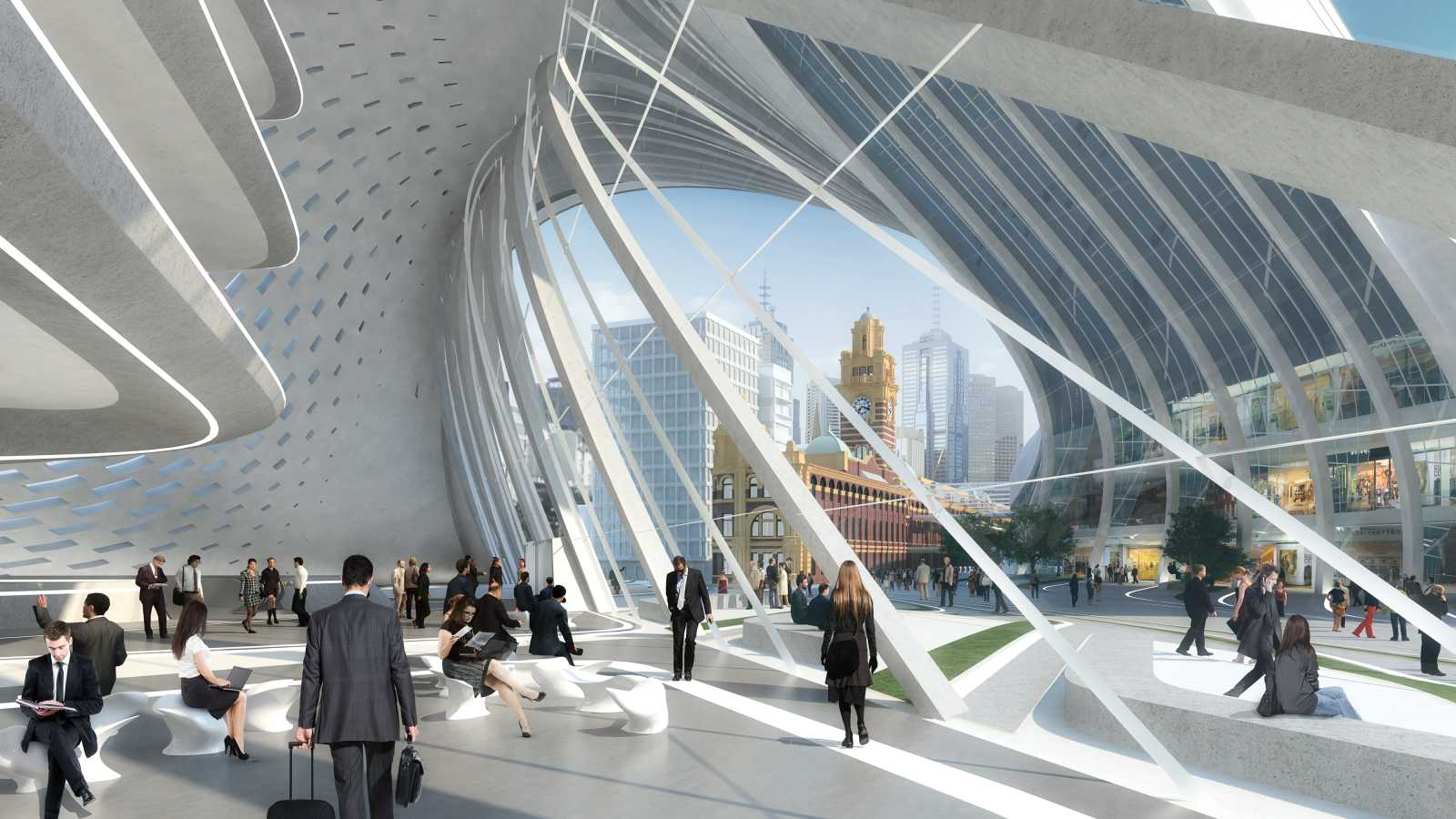 Farch3 flinders street station design competition by zaha for Architects melbourne
