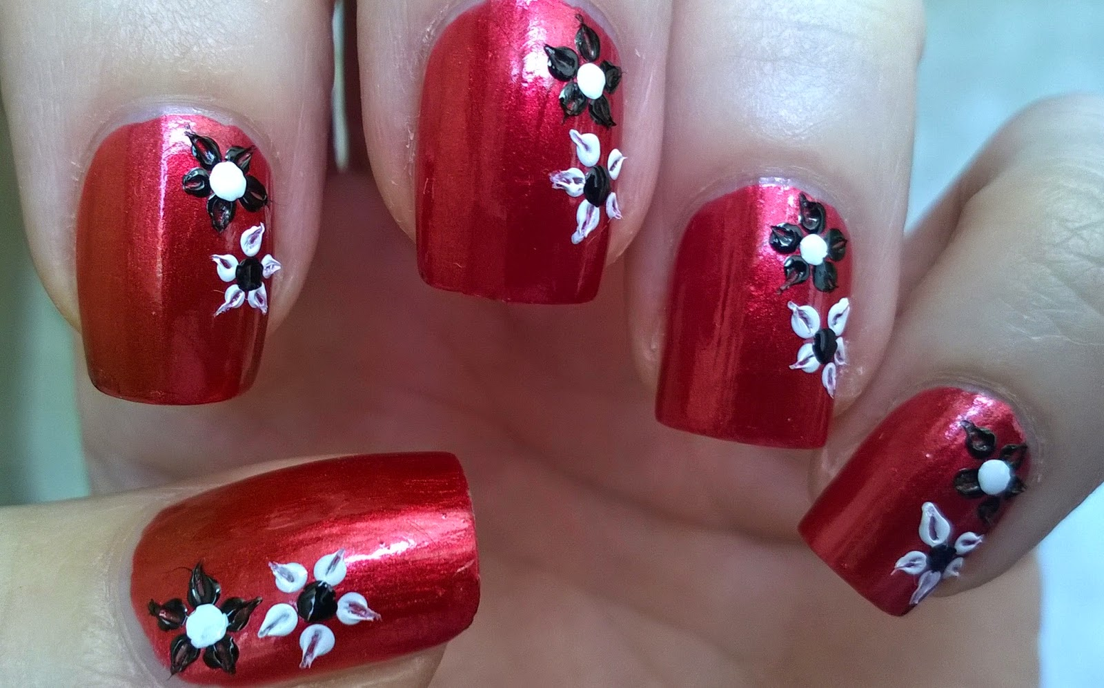 Dark Red Floral Nail Art By Using Toothpick Dotting Tool