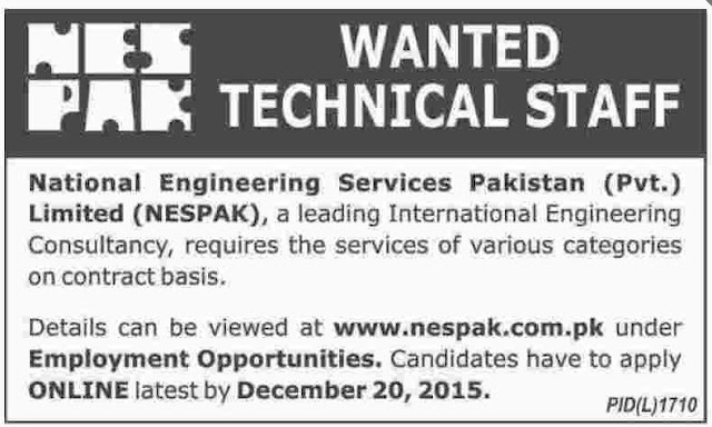 Engineers Jobs in Nespak Limited Pakistan
