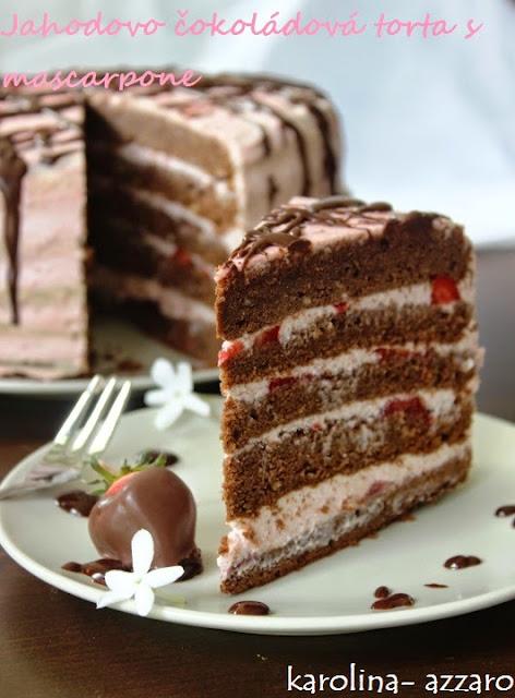 Jahodovo čokoládová torta s mascarpone