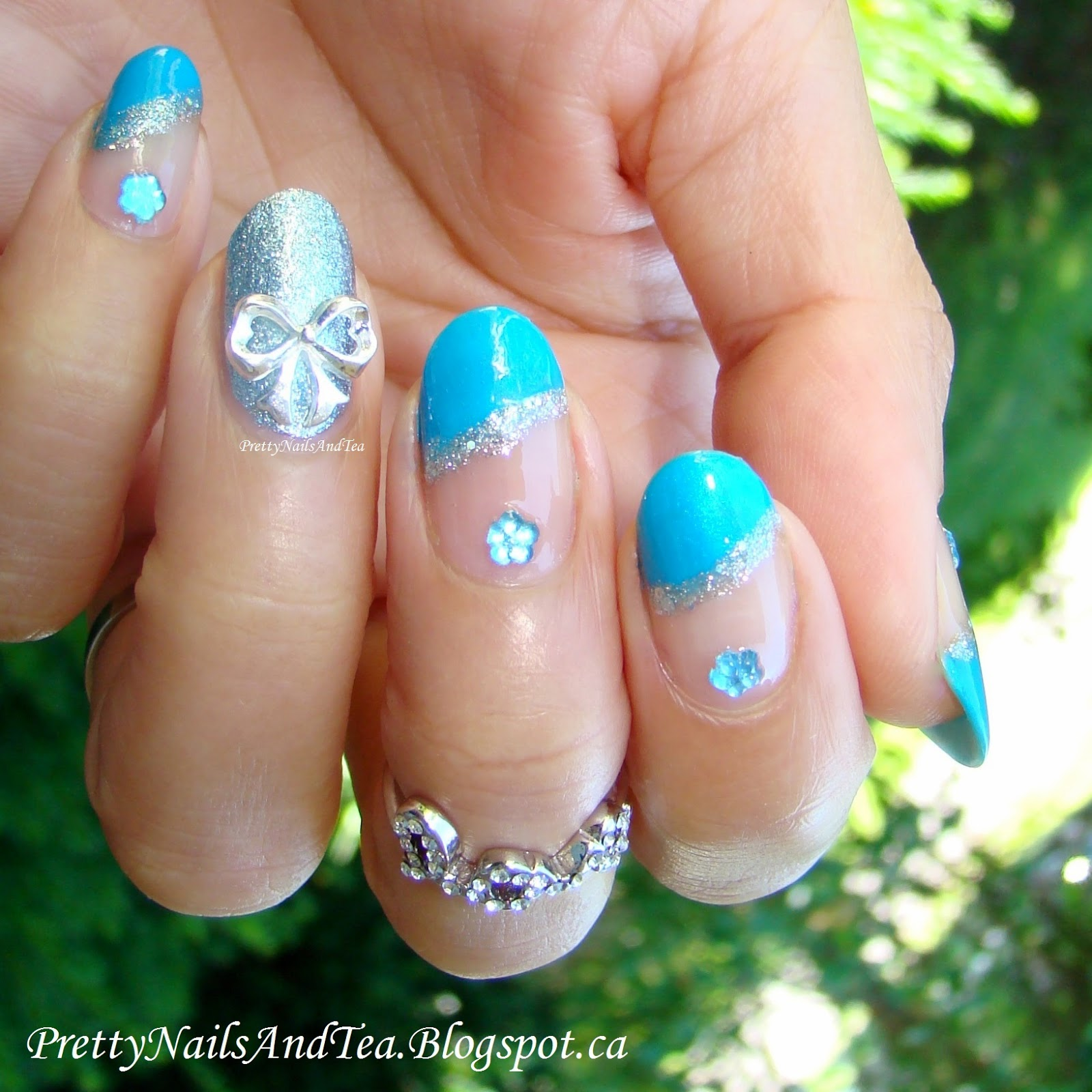 blue French with silver 3d bow