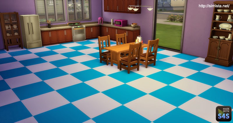 My sims 4 blog linoleum checkered floors by mr s for Checkered lino flooring