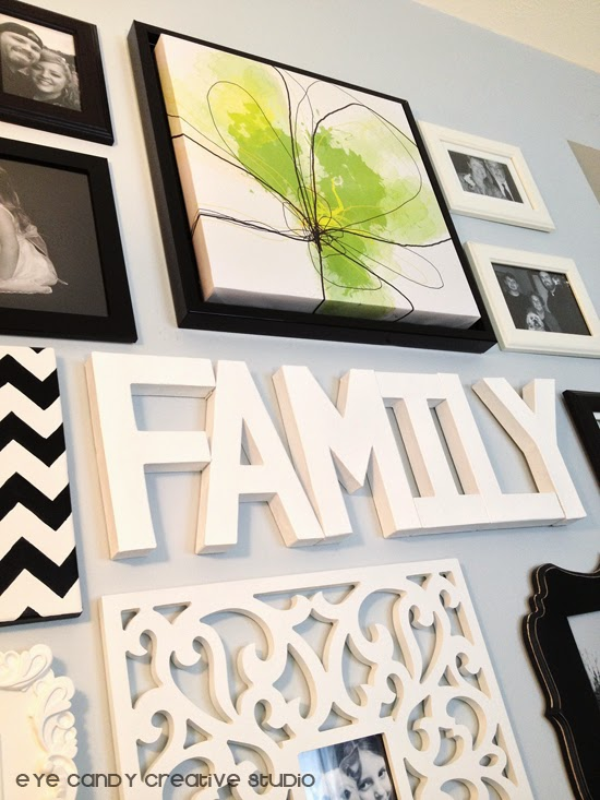 family, word art, paper mache letters, DIY craft, black and white gallery wall