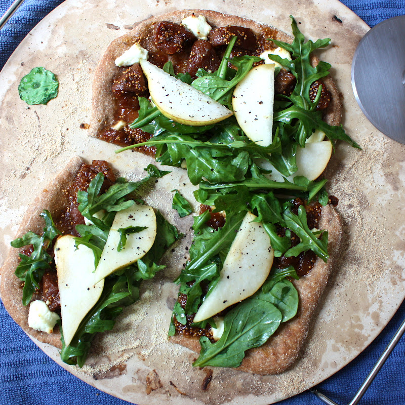 Fig and Goat Cheese Pizza with Arugula - Get Off Your Tush and Cook!