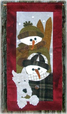 "Snow Kids Wool Applique Wallhanging 11"" by 22"""