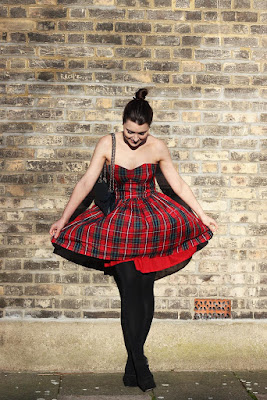 Strapless tartan dress