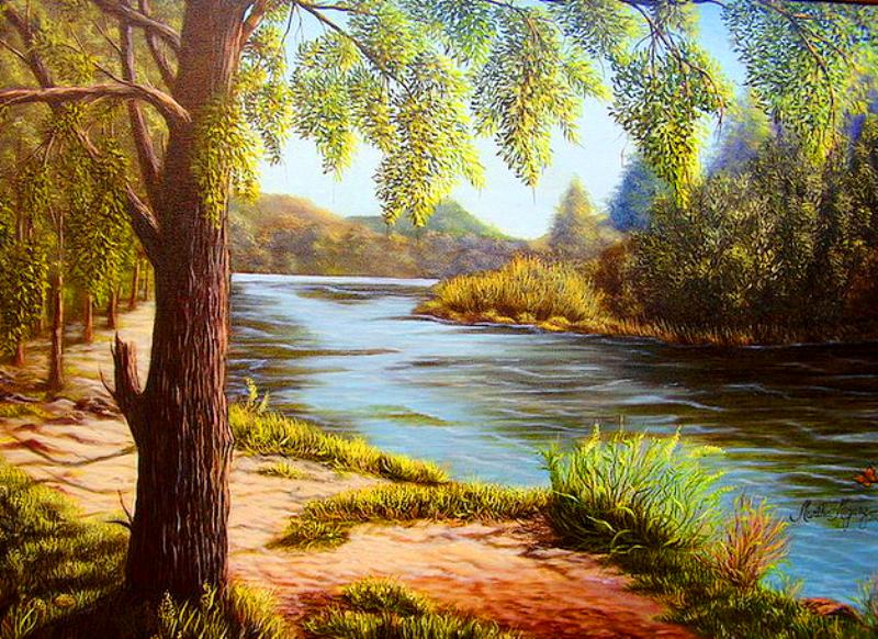 Pintura moderna y fotograf a art stica paisajes al leo for Papel pintado paisajes