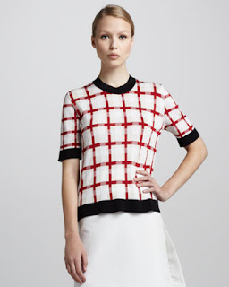 red black and white sweater
