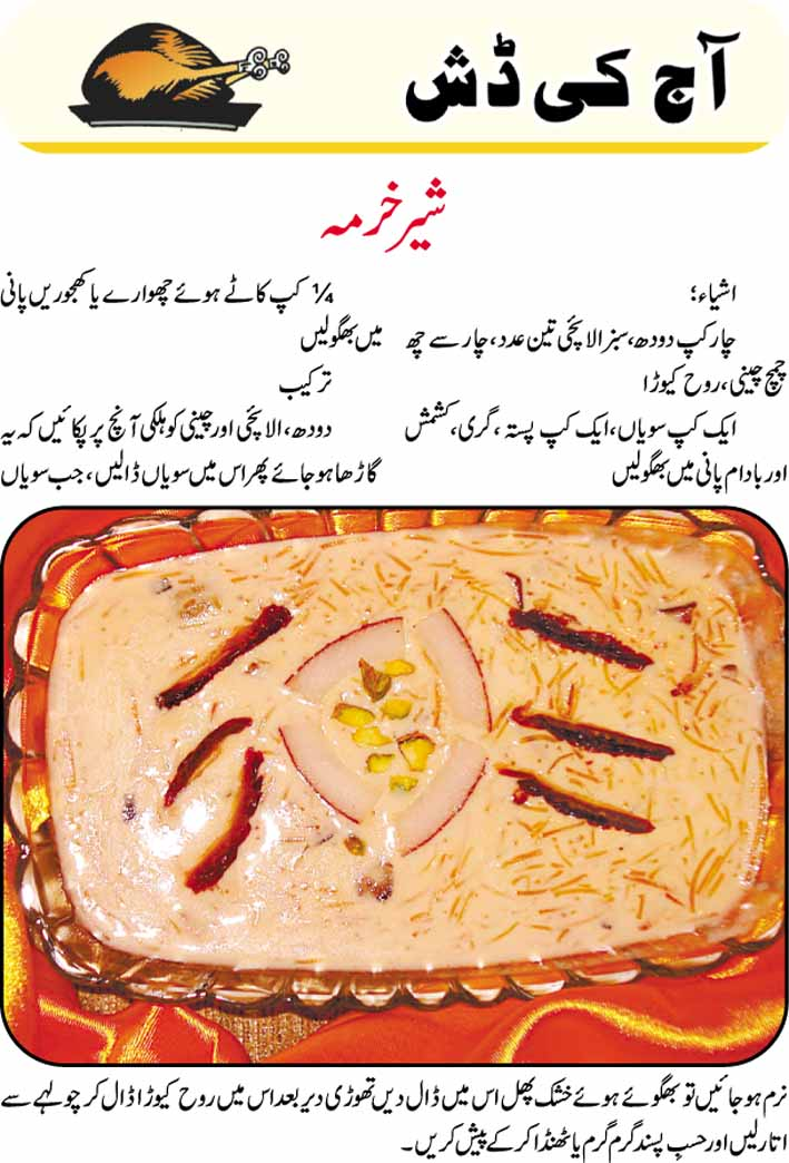 daily cooking recipes in urdu sheer khurma recipe in urdu