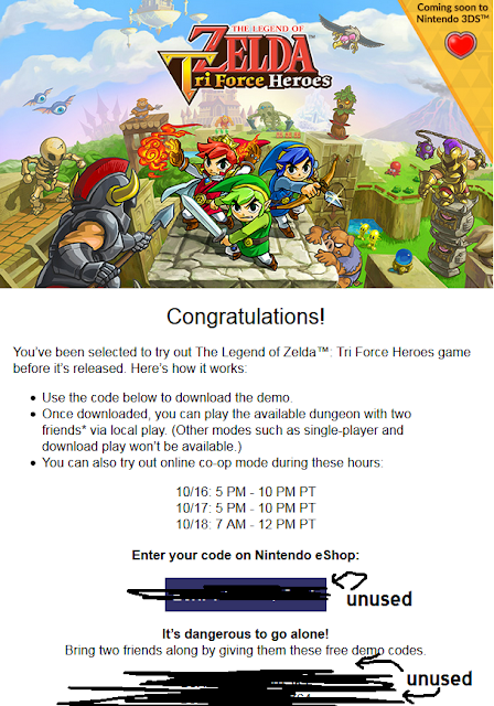 The Legend of Zelda: Tri Force Heroes Nintendo e-mail free demo codes eShop 3DS
