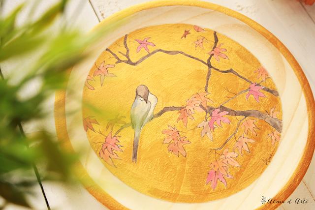 Pintura de inspiración japonesa sobre madera
