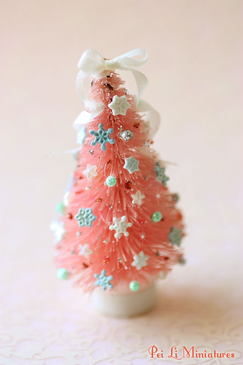Dollhouse miniatures miniature food jewelry craft for Miniature christmas trees for crafts