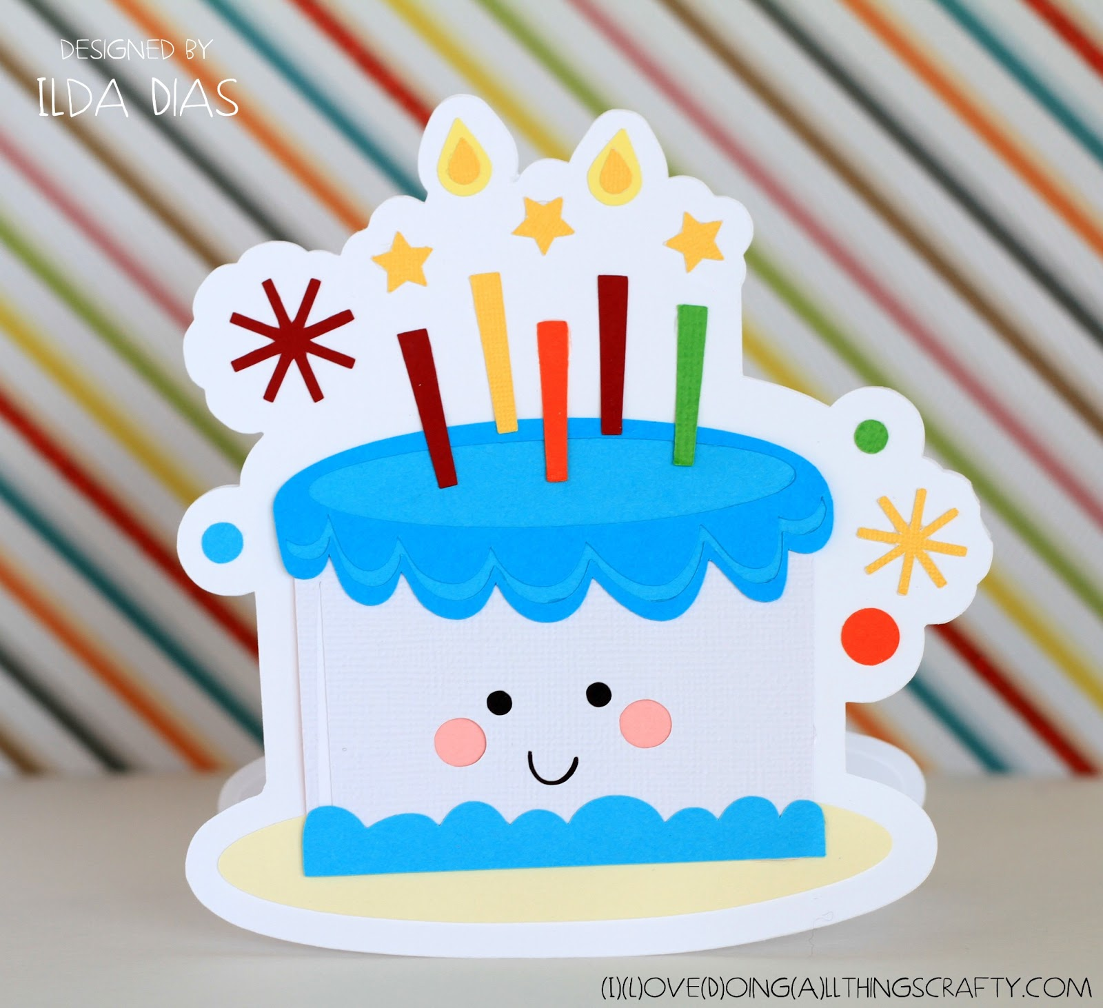 I Love Doing All Things Crafty Happy Birthday Cake Shaped Card And