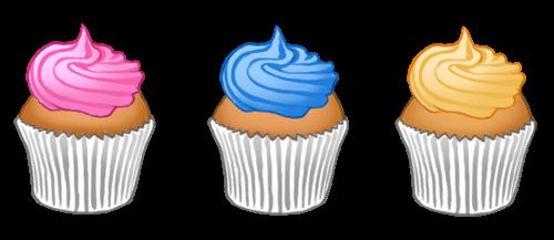 3 cupcakes rose, bleu et jaune