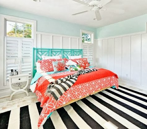 Turquoise coral yellow in a rehoboth beach house for Coral and turquoise bedroom ideas
